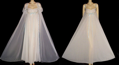 "VINTAGE ""I DO"" BRIDAL TROUSSEAU DOUBLE NYLON PEIGNOIR & NIGHTGOWN SET WITH PLEATED PUFF SLEEVES & AQUA SATIN RIBBONS"