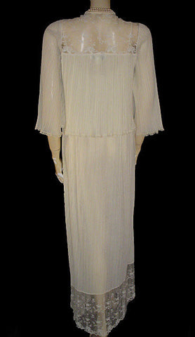 SOLD - VINTAGE BRIDAL TROUSSEAU RALPH MONTENERO FOR BLANCHE LACE PLEATED PEIGNOIR & NIGHTGOWN SET IN CANDLELIGHT