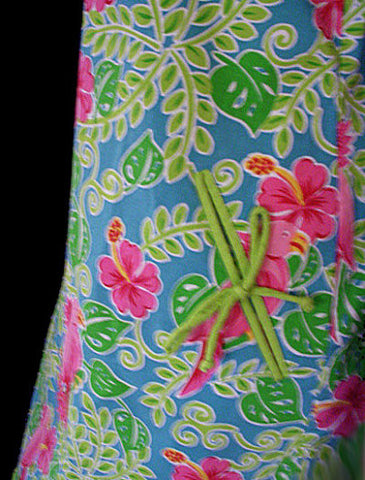 ADORABLE SUMMER HOT PINK & LIME COTTON & SPANDEX SPARKLING SEQUINS  & BEADED COCKATOO PARROT DRESS - SIZE XL