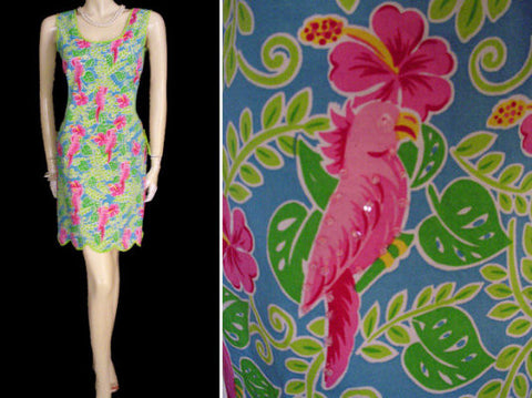 ADORABLE SUMMER HOT PINK & LIME COTTON & SPANDEX SPARKLING SEQUINS  & BEADED PARROT DRESS - SIZE XL