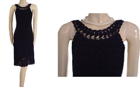 DIANE VON FURSTENBERG $568 RARE STYLE CROCHETED CLASSIC NAVY DRESS WITH SCALLOPED HEM - SIZE LARGE