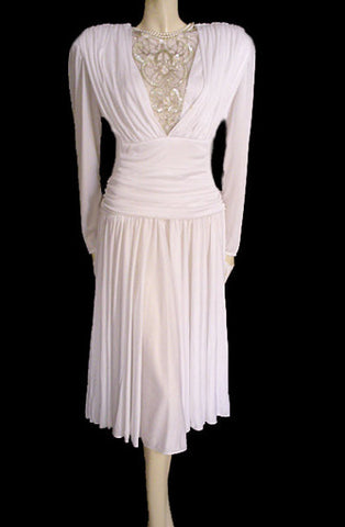 VINTAGE MICHAEL MARCELLA DRAPED GODDESS WEDDING DRESS / COCKTAIL DRESS ENCRUSTED WITH SPARKLING SEQUINS, PEARLS & GOLD SHOT