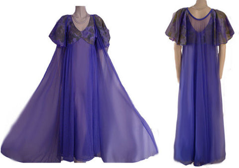 VINTAGE DOUBLE NYLON PEIGNOIR & NIGHTGOWN SET WITH HUGE BIAS-CUT BUTTERFLY SLEEVES IN PERIWINKLE & LIME
