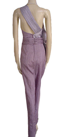 FROM MY OWN PERSONAL COLLECTION - VINTAGE B. B. COLLECTIONS BY BARBARA BARBARA  LAVENDER & SILVER ONE-SHOULDER PLEATED COCKTAIL JUMPSUIT ADORNED WITH FABULOUS SPARKLING RHINESTONE & SILVER CORDING HUGE FLOWER