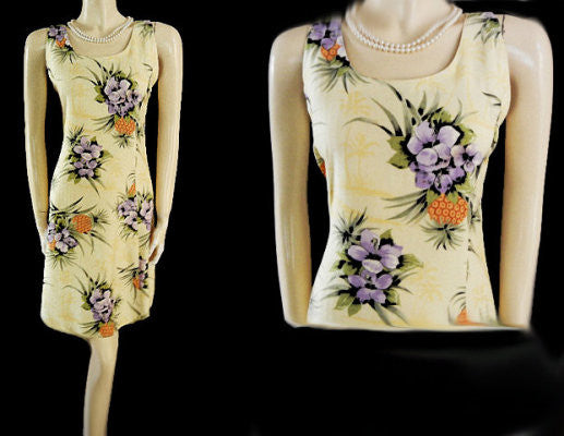 CUTE TOMMY BAHAMA ORCHID & PINEAPPLE SILK DRESS - PERFECT FOR SUMMER