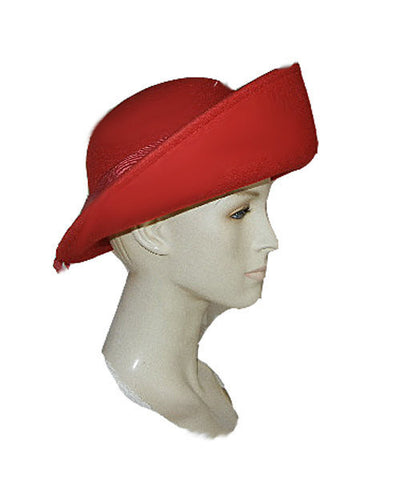 VINTAGE '80s SONNI OF SAN FRANCISCO SCARLET RED BOAT HAT WITH LARGE DOUBLE GROSGRAIN BOW