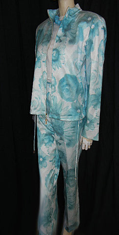 VINTAGE ST. JOHN MARIE GRAY AQUA & WHITE JACKET & SLACKS OUTFIT WITH CHAIN LOGO - NEW WITH TAGS - LARGE