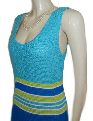 GORGEOUS ST.JOHN BY MARIE GRAY FABULOUS KNIT DRESS IN ROYAL BLUE, LIME & AQUAMARINE