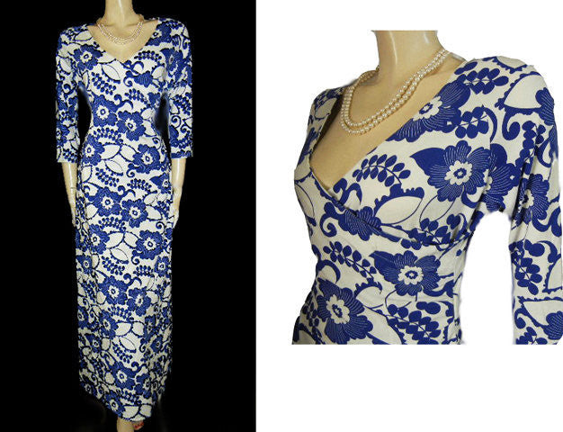 FABULOUS SOFT SURROUNDINGS ROYAL BLUE & WHITE SURPLICE SPANDEX CURVE HUGGING DRESS