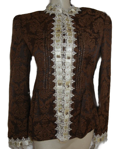 NEW - FROM MY OWN PERSONAL COLLECTION -  BEAUTIFUL EDWARDIAN-LOOK LACE, SATIN BEADED BROCADE JACKET IN BITTERSWEET CHOCOLATE - LARGE