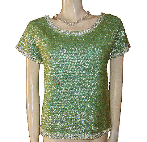 FROM MY OWN PERSONAL VINTAGE COLLECTION - STUNNNING VINTAGE  SPARKLING RHINESTONES, IRIDESCENT SEQUINS & PEARLS ENCRUSTED EVENING TOP FROM HONG KONG IN LILY PAD WITH METAL ZIPPER