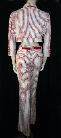 VINTAGE CORI SCARLET & WHITE STRIPED JACKET & HIP HUGGER PANTS OUTFIT WITH WOODEN BUTTONS FROM BRAZIL