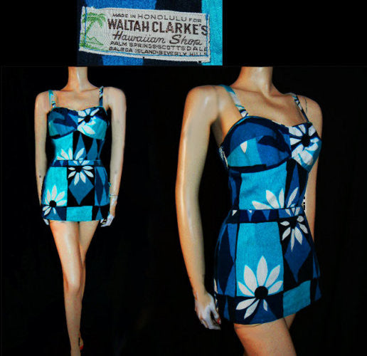 VINTAGE EARLY '60s WALTAH CLARKE'S HAWAIIAN SHOP MADE IN HONOLULU TURQUOISE & FRENCH BLUE SWIMSUIT WITH METAL ZIPPER