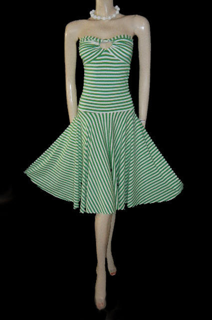 ADORABLE MODA INTERNATIONAL STRAPLESS LIME & WHITE STRIPE SPANDEX BIAS-CUT DRESS