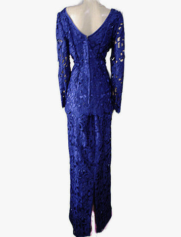 BEAUTIFUL VINTAGE SATIN EMBROIDERED CUT WORK EVENING GOWN ADORNED WITH PEARLS & SEQUINS IN SAPPHIRE -  SIZE LARGE