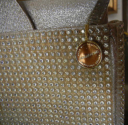VINTAGE MAGID SILVER LAME & SPARKLING SWAROVSKI CRYSTALS EVENING PURSE