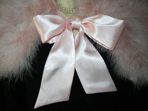 GORGEOUS MARABOU & SATIN STOLE OR BED JACKET  IN TICKLE ME PINK PLUS A BONUS OF A LACE-TRIMMED DUST COVER STORAGE BAG - WOULD MAKE A WONDERFUL GIFT