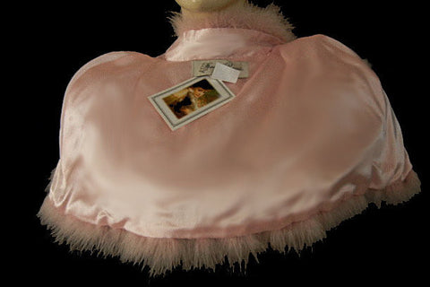 NEW - GORGEOUS MARABOU & SATIN STOLE OR BED JACKET  IN TICKLE ME PINK PLUS A BONUS OF A LACE-TRIMMED DUST COVER STORAGE BAG - WOULD MAKE A WONDERFUL GIFT
