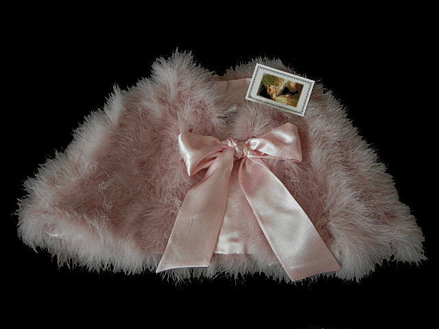 SOLD - GORGEOUS MARABOU & SATIN STOLE OR BED JACKET  IN TICKLE ME PINK PLUS A BONUS OF A LACE-TRIMMED DUST COVER STORAGE BAG - WOULD MAKE A WONDERFUL GIFT