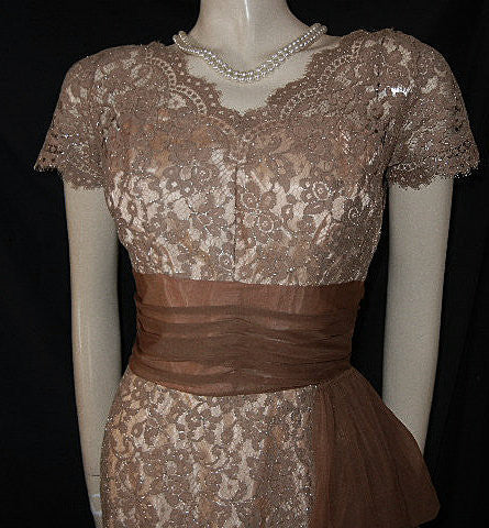 VINTAGE ANNETTE GOWNS SPARKLING SILVER & MOCHA LACE ILLUSION COCKTAIL DRESS WITH FLOWING DRAPE & METAL ZIPPER