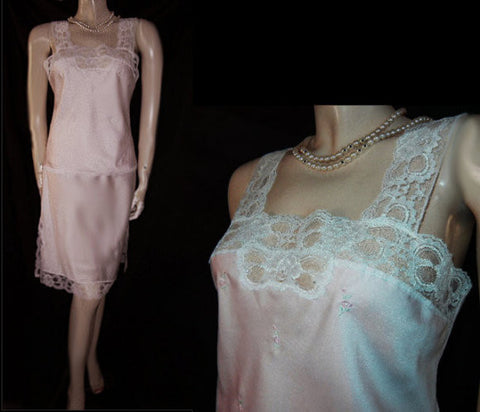 SOLD - FROM MY OWN PERSONAL COLLECTION - EXQUISITE VINTAGE BARBIZON PINK ROSES CAMISOLE & HALF SLIP SET - NEW OLD STOCK