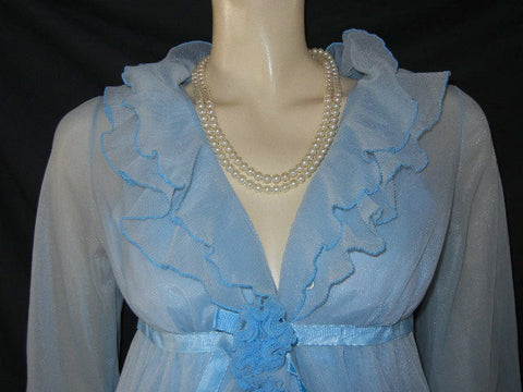 VINTAGE EVETTE DOUBLE NYLON  PLEATED PEIGNOIR & NIGHTGOWN SET WITH FABRIC ROSE & SATIN RIBBONS IN BLUE BAYOU