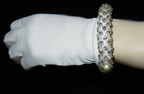 ABSOLUTELY GORGEOUS VINTAGE '50s ELAYNE GLOVES WITH A ROLLED CUFF ENCRUSTED WITH BRILLIANTLY SPARKLING RHINESTONE