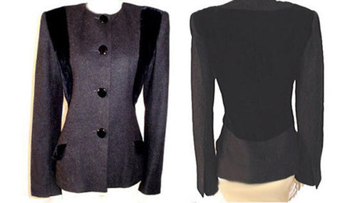 VINTAGE JACQUELINE DE RIBES VELVET & WOOL JACKET - MADE IN FRANCE