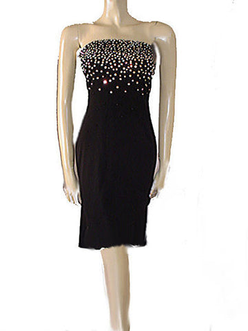 SPARKLING RHINESTONE ENCRUSTED STRAPLESS BEADED EVENING DRESS