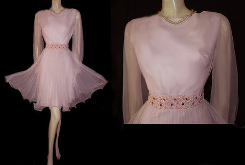 VINTAGE '50s PINK PLEATED PARTY DRESS ADORNED WITH SPARKING PINK RHINESTONES & BRAID WITH METAL ZIPPER