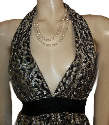 SOPHISTICATED KAY UNGER GOLD & BLACK LACE SILK HALTER EVENING GOWN - LARGER SIZE