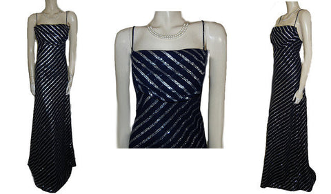 KARINA NITES SPARKLING METALLIC SILVER & NAVY BIAS-CUT EVENING GOWN - LARGE SIZE