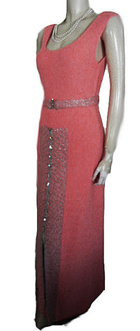 FROM MY OWN PERSONAL COLLECTION - GORGEOUS VINTAGE METALLIC SILVER & PEACH BOUCLE KNIT EVENING GOWN ABLAZE WITH HUGE BRILLIANT PRONG-SET RHINESTONES