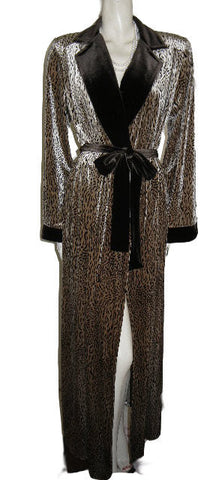 NEW - LUXURIOUS DIAMOND TEA WRAP-STYLE SPANDEX VELOUR ROBE IN A SAND & BITTERSWEET CHOCOLATE CHEETAH PRINT - SIZE MEDIUM - WOULD MAKE A WONDERFUL GIFT