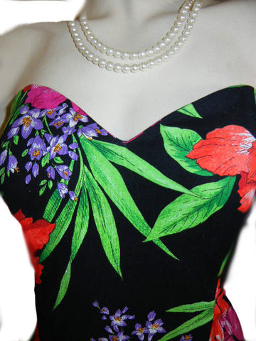 VINTAGE SCARLETT SWEETHEART NECKLINE HAWAIIAN FLOWERS BALLOON SKIRT