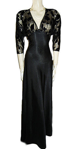 VINTAGE BLANCHE NIGHTGOWN SPRINKLED WITH SPARKLING GLITTER & BURNOUT VELVET APPLIQUES WITH A FABULOUS SHEER BACK
