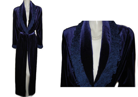 NEW - DIAMOND TEA LUXURIOUS WRAP-STYLE VELVET VELOUR ROBE IN TANZANITE WITH A FABULOUS RUFFLE BLOSSOM COLLAR & CUFFS - SIZE MEDIUM - #2 - WOULD MAKE A WONDERFUL GIFT