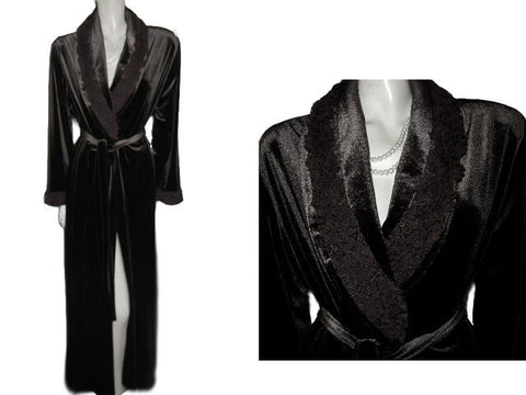 NEW - DIAMOND TEA LUXURIOUS WRAP-STYLE VELVET VELOUR ROBE IN ESPRESSO WITH A FABULOUS RUFFLE BLOSSOM COLLAR & CUFFS - SIZE MEDIUM - WOULD MAKE A WONDERFUL GIFT