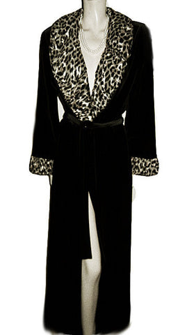 NEW - DIAMOND TEA LUXURIOUS WRAP-STYLE SPANDEX VELVET VELOUR ROBE WITH A FABULOUS LEOPARD & METALLIC GOLD RUCHED COLLAR & CUFFS - SIZE MEDIUM - WOULD MAKE A WONDERFUL GIFT