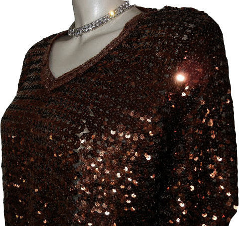 VINTAGE TOPPETTES BY A. BROD SPARKLING COPPER SEQUIN EVENING TOP - PERFECT FOR THE HOLIDAYS