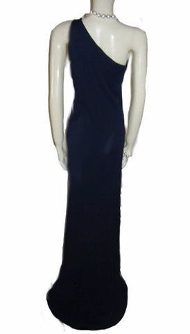 FROM MY OWN PERSONAL COLLECTION - VINTAGE '90s RALPH LAUREN GRECIAN GODDESS ONE SHOULDER NAVY BIAS CUT EVENING GOWN