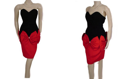 VINTAGE DARCY STRAPLESS SWEETHEART NECKLINE BLACK VELVET & RED PEAU DE SOIE RHINESTONE EVENING DRESS