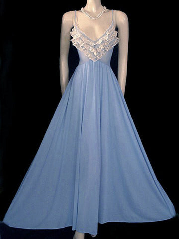 VERY RARE - VINTAGE OLGA NEVER BEFORE SEEN STYLE WITH RUFFLES SPANDEX LACE GOWN IN BLUE HEAVEN #2