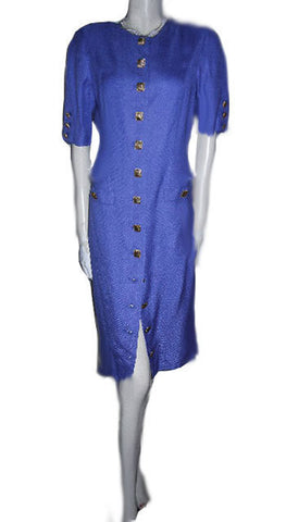 VINTAGE LOUIS FERAUD LINEN-LOOK DRESS ACCENTED WITH GOLD METAL SQUARE BUTTONS IN PERIWINKLE