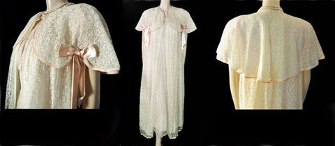 VINTAGE FANCY FANTASY LINGERIE PINK & IVORY LACE CAPE PEIGNOIR & NIGHTGOWN SET