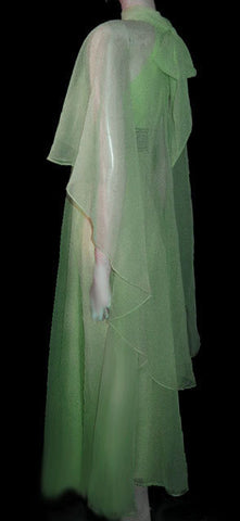 VINTAGE JACK BRYAN SPARKLING IRIDESCENT RHINESTONE, PEARL & BEADED CHIFFON EVENING GOWN & BIAS-CUT FLOATING STOLE IN SEA SIREN