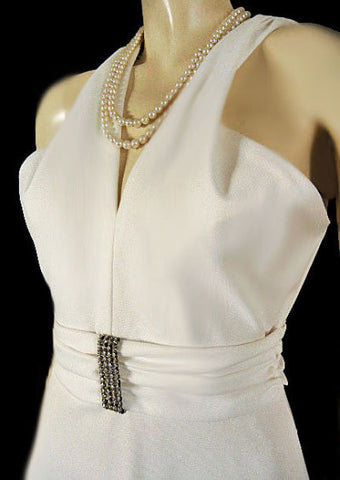 "GLAMOROUS VINTAGE ""MARILYN"" HALTER LOOK RHINESTONE EVENING GOWN WEDDING GOWN WITH METAL ZIPPER"