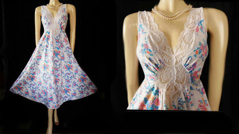 VERY RARE VINTAGE OLGA COTTON & SPANDEX FLORAL LACE NIGHTGOWN IN SUMMER MORNING - SIZE LARGE