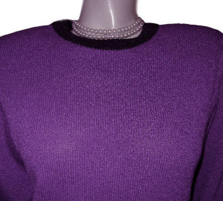 FROM MY OWN PERSONAL COLLECTION - VINTAGE DON SAYRES FOR WELLMORE SAKS FIFTH AVENUE SANTANA KNIT DRESS IN AMETHYST & CHARCOAL
