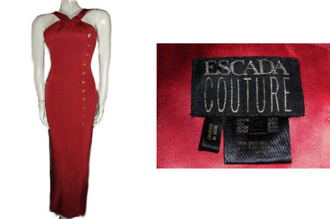 GLAMOROUS ESCADA COUTURE HALTER-LOOK EVENING GOWN WITH ESCADA LOGO RHINESTONE STUDDED BUTTONS - PERFECT FOR THE HOLIDAYS